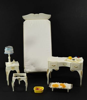 Lot of Vintage Sindy Doll Bed Dressing Table Bedside Table + Accessories