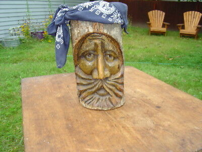 "Vintage Folk Art Wooden Spirit Face Of A Old Hippie Wood Carving 9 1/2"" x 4 1/2"""