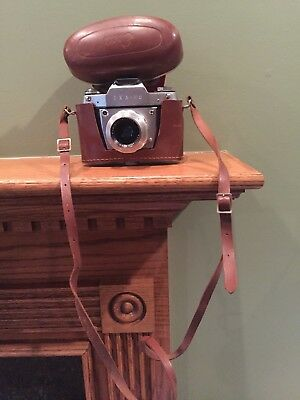 Vintage Ihagee Exa 11a Camera Dresden Germany w/ Case - STRICTLY PARTS or REPAIR