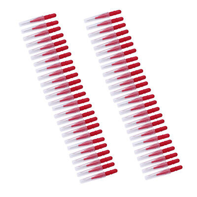 50Pcs Interdental Brush Floss Sticks Tooth Floss Head Toothpick Cleaning Red