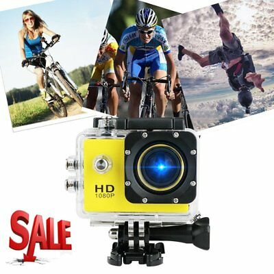Waterproof Full HD 1080P 12MP Car Cam Sports Action Camera DV Camcorder Yellow B