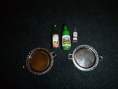 Doll House Miniature Serving Trays and Wine's