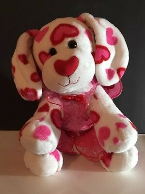 Build a Bear Hugs A Plenty Heart Dog Plush Red White Pink Love Puppy Valentine