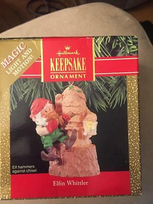 Hallmark Keepsake Magic Light & Motion Elfin Whittler 1990 Christmas Ornament