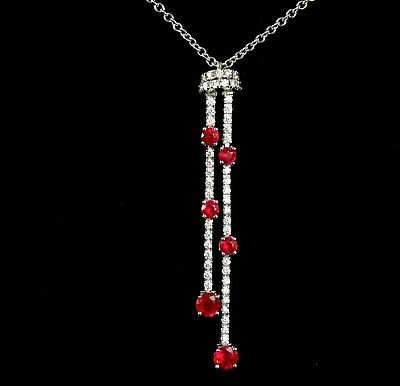 SPARK SIGNED NATURAL 1.50ctw BURMESE RUBY DIAMOND 18K WHITE GOLD LARIAT NECKLACE