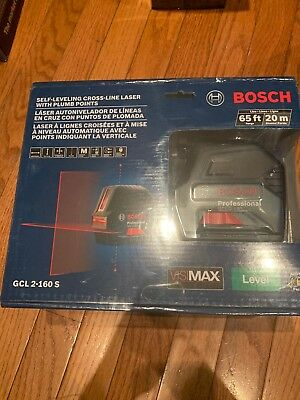 *NEW* BOSCH GCL 2-160s Self-Leveling Cross-Line Laser with Plum Points 65ft-20m
