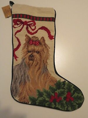 Yorkshire Terrier Dog Needlepoint Christmas Stocking by Union Trading Co