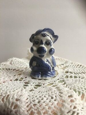 Porcelain Gzhel Figurine Piggy -Symbol of the New 2019 Year Hand Painted