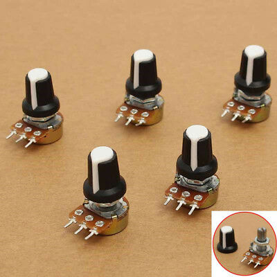 5Pcs B10K 10K OHM Linear Taper 3 Terminals Rotary Potentiometer with Knobs