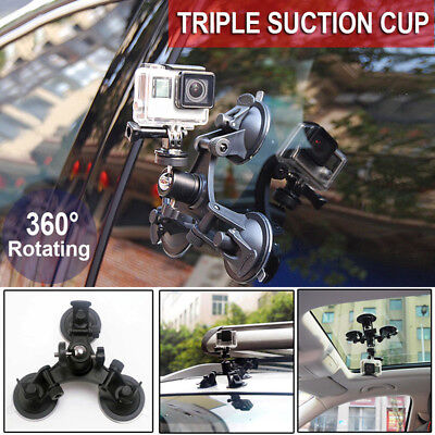 Triple Suction Cup Car Windscreen Dash Mount for GoPro Go Pro Hero 1 2 3 3+ 4 TS