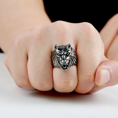 Men Ring Domineering Wolf  Stainless Steel Animal Punk Ring Wolf Rings