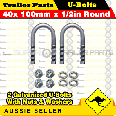 2 x U-Bolts 40mm x 100mm Round with Nuts Galvanized Trailer Box Boat Caravan