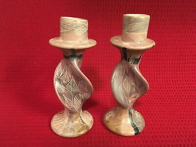 Kenyan Hand Carved Besmo Candlesticks - Set of Two - Mint
