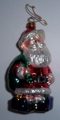 SANTA CLAUS Glass Figural Bulb Ornament Island Of Misfit Toys Rudolph BRASS KEY