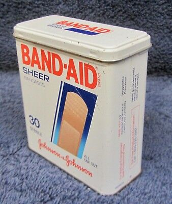 Vintage BAND-AID TIN Litho Sheer Adhesive Strips Bandages 30 STERILE Count Box