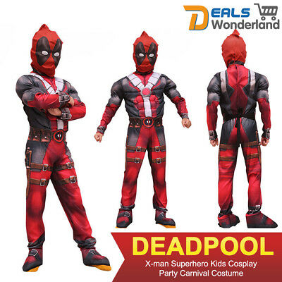 Deadpool X-man Superhero Kids Cosplay Party Carnival Costume