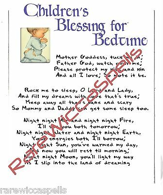 CHILDREN'S BLESSINGS 4 Bed Spell for Wicca Book of Shadows