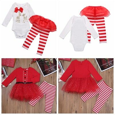 2PCS Newborn Baby Girl Xmas Romper Tops Tulle Tutu Dress Outfits Clothes 3-24M