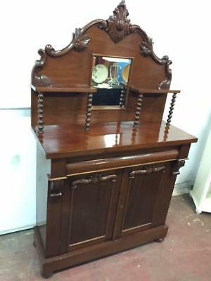 E46004 Vintage Mahogany Chiffonier Sideboard Carved Over Mantle
