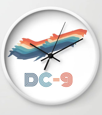 """1970's Retro Airliner """"DC-9"""" - Wall Clock"""