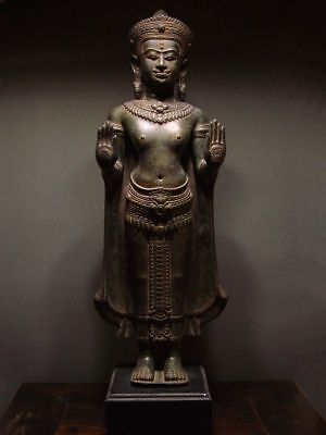 ANTIQUE BRONZE STANDING LOPBURI BUDDHA -  KHMER INFLUENCE. 19/20th C.