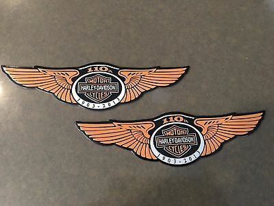 2x Used Motorcycle Adhesive Gas Tank Emblems For Harley Davidson Motorcycles