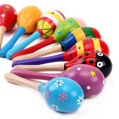 Colorful Wooden Hammer Cartoon Sand Ball Knock Wooden Bell Educational CP