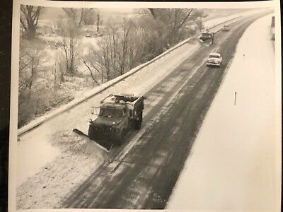 Vintage photo, Snow Plows on Pennsylvania Turnpike after storm, early 1950's
