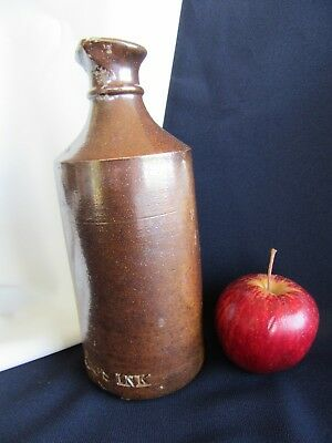 Salt Glaze Brown Ink Bottle Dunedin Nz Meeks Ink Wj Ltd. 18 X 7Cm 1886 Antique