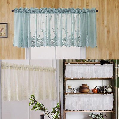 Embroidered Lace Flower Home Window Voile Sheer Valance Cafe Tiers Curtains
