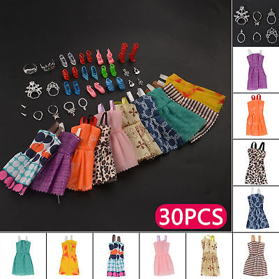 30 Pieces  Barbie Doll  Dresses Shoes Jewellery Hangers Clothes Set Girls Gifts