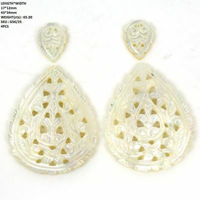 65.30cts Natural MOTHER OF PEARL Gemstone Hand Carved Pear Shape 17*12-43*34mm