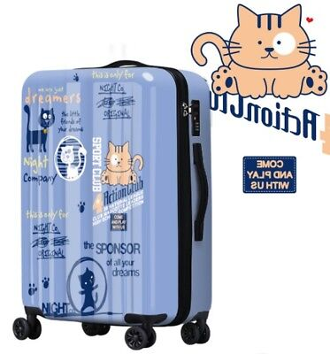 D604 Cartoon Cat Coded Lock Universal Wheel Travel Suitcase Luggage 20 Inches W