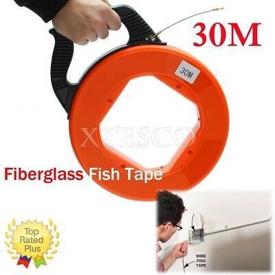 30MFiberglass Fish Tape Reel Puller Conduit Ducting Rodder Pulling Wire Cable DE