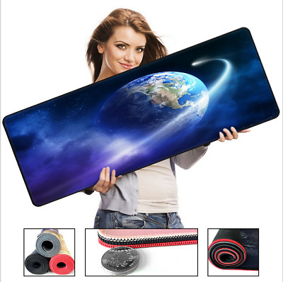 Extended Gaming Mouse Pad Stitched Edges Non-Slip Rubber Base Cloth Computer Mat
