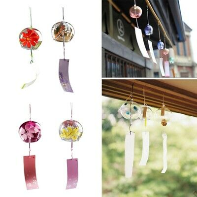 Japanese Style Glass Windchime Blessing Bell Wind Chime Room Hanging Decor Gift
