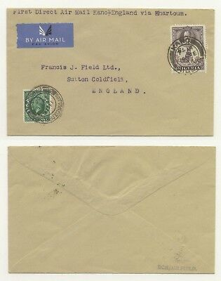 1936 Air Cover KANO (Nigeria) - Sutton Coldfield England, 2 countries franking
