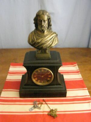 Old marble clock and bronze bust (signed Etienne Haiseln)