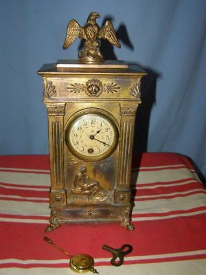 Antique Napoleon style brass clock  balance mechanism without ringing