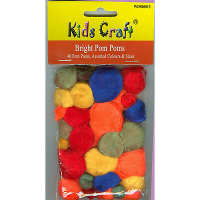 Pom Poms - 40 Assorted Bright Colours & Sizes by Creativity for Kids