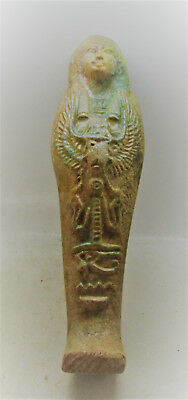 Circa 664-332Bc Ancient Egyptian Glazed Ushabti Shabti With Hieroglyphics