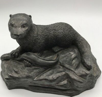 Otter With Eel Coal Dust Resin Sculpture By Colin Telfer Maryport Cumbria