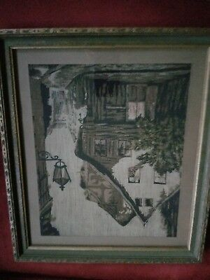 Antique 1900's La France Art Company Needlepoint Textile Picture Tapestry