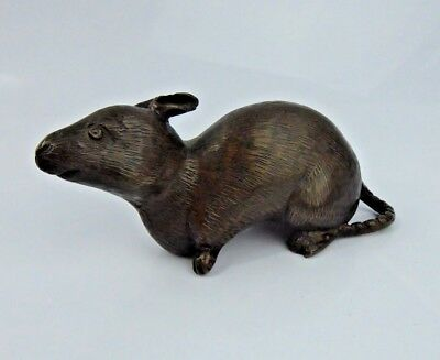 Chinese Antique Bronze Scholars Scroll weight Rat fine Quality Patina c1900 Qing