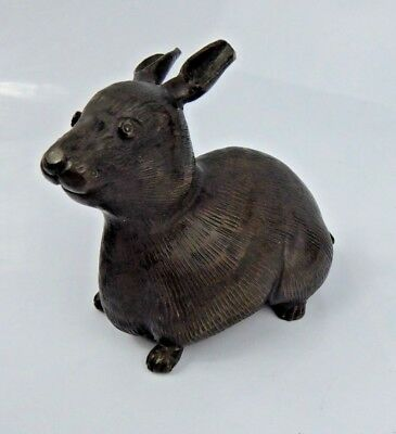 Chinese Antique Bronze Scholars Scroll weight Rabbit Quality Patina c1900 Qing