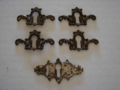 5 Antique Furniture Key Hole Escutcheons 4 Matching & 1 other - Fancy