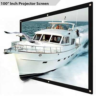 "100"" Inch Projector Projection Screen 16:9 White Matte 3D HD Home Cinema HD BM"