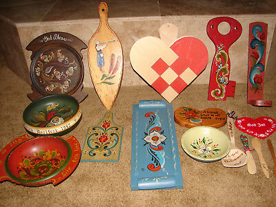Large Lot Norwegian ROSEMALING Vintage bowls key holder traknaggen heart