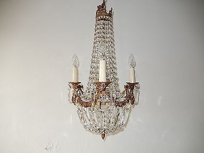 ~c 1930 French Empire Bronze Bows Crystal Prisms RARE Chandelier Vintage Old~