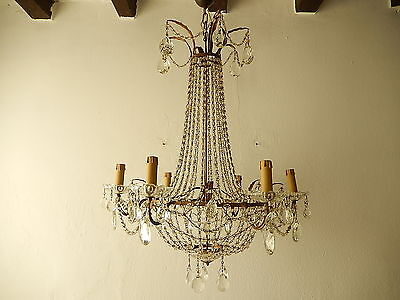 ~c 1930 French Empire Bronze Beaded Basket Crystal Prisms RARE Chandelier Old~